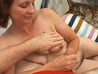 nice handjob by a horny mom
