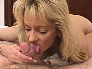 blonde mom sucking younger cock