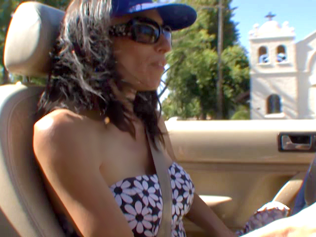 hot brunette milf driving around without panties